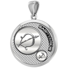 Men's 925 Sterling Silver Round Sagittarius Zodiac Polished Finish Pendant Necklace