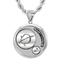 Men's 925 Sterling Silver Round Sagittarius Zodiac Polished Finish Pendant Necklace, 25mm