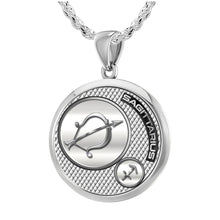 Sagittarius Necklace In Round Shape - 2.3mm Rope Chain