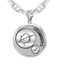 Men's 925 Sterling Silver Round Sagittarius Zodiac Necklace, 25mm