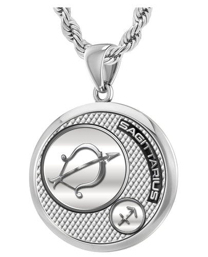 Sagittarius Necklace Of Silver In Round - 3mm Rope Chain