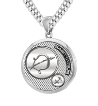 Men's Sterling Silver Round Sagittarius Zodiac Necklace, 25mm