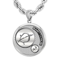 Silver Round Sagittarius Zodiac Polished Necklace, 25mm