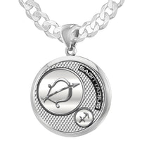 925 Sterling Silver Round Sagittarius Zodiac Necklace, 25mm