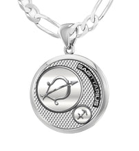Men's 925 Sterling Silver Round Sagittarius Zodiac Polished Necklace, 25mm