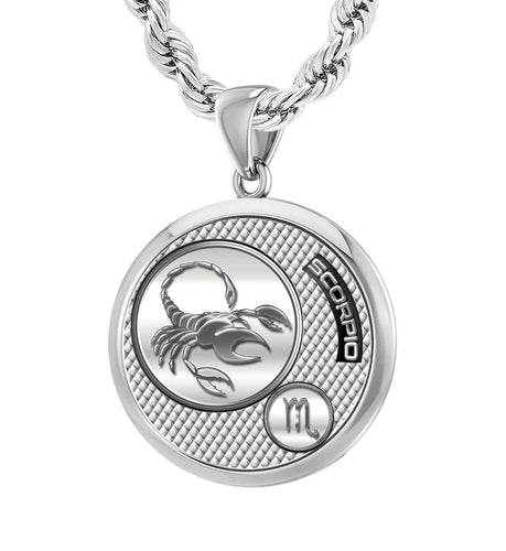 Men's 925 Sterling Silver Round Scorpio Zodiac Polished Finish Pendant Necklace, 25mm