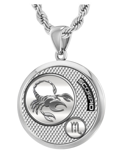 Scorpio Necklace In Silver For Men - 3mm Rope Chain