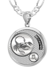 Scorpio Necklace In Silver For Men - 4mm Figaro Chain