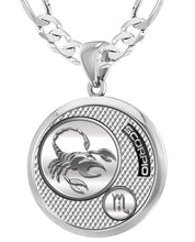 Scorpio Necklace In Silver For Men - 5.2mm Figaro Chain