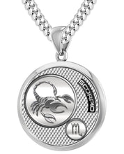 Scorpio Necklace In Silver For Men - 5.6mm Cuban Chain
