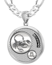 Scorpio Necklace In Silver For Men - 6mm Figaro Chain