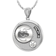 Taurus Pendant Of Silver In Round - 1.50mm Rope Chain