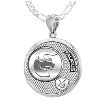 Taurus Pendant Of Silver In Round - 1.8mm Figaro Chain