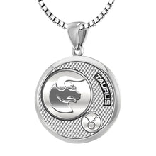 Taurus Pendant Of Silver In Round - 2.2mm Box Chain