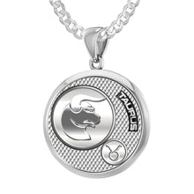 Taurus Pendant Of Silver In Round - 2.2mm Curb Chain