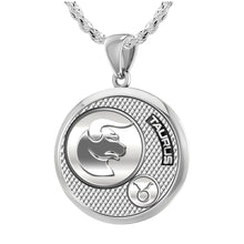 Taurus Pendant Of Silver In Round - 2.3mm Rope Chain