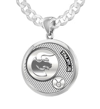 Men's 925 Sterling Silver Round Taurus Zodiac Polished Finish Pendant Necklace, 25mm