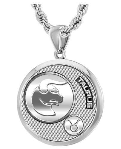 Taurus Necklace For Men In 925 Silver - 3mm Rope Chain