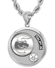 Men's 925 Sterling Silver Round Taurus Zodiac Polished Finish Pendant Necklace, 33mm
