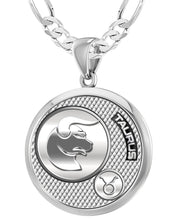 Taurus Necklace For Men In 925 Silver - 4mm Figaro Chain