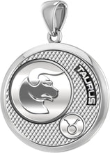 Taurus Pendant Of Silver In Round - Without Chain