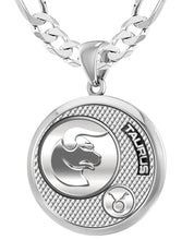 Taurus Necklace For Men In 925 Silver - 6mm Figaro Chain