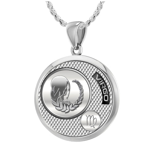 Virgo Necklace In Sterling Silver - 1.50mm Rope Chain