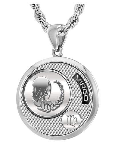 Virgo Necklace In Silver For Men - 3mm Rope Chain