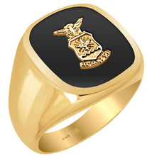 US Air Force Military Ring with Gold USAF Logo on top