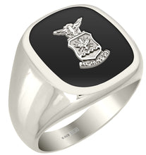 Silver USAF Military Ring with Silver USAF Emblem on Top