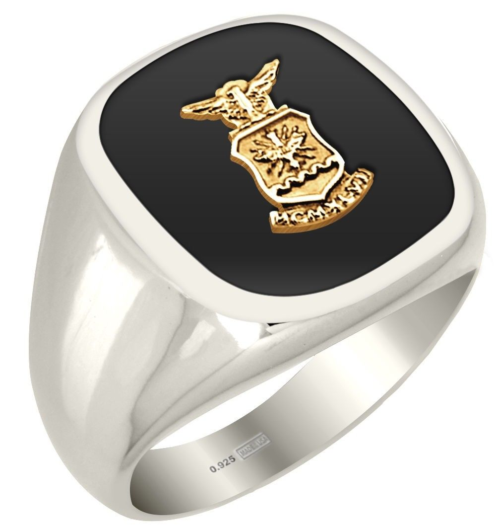 0.925 Sterling Silver US Air Force Logo Military Ring
