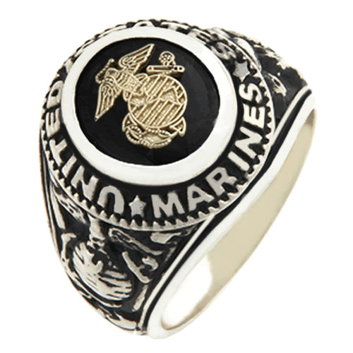 Men's US Marine Corps Solid Back Ring 0.925 Sterling Silver