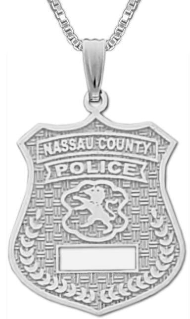 Charm Necklace - Police Pendant In Nassau County Badge