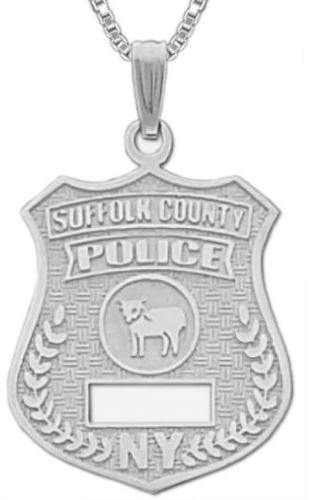 Charm Necklace - Police Pendant In Suffolk County Badge