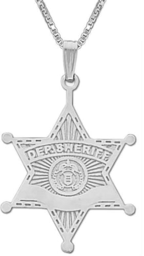 Police Necklace - Silver Pendant Of Deputy Sheriff