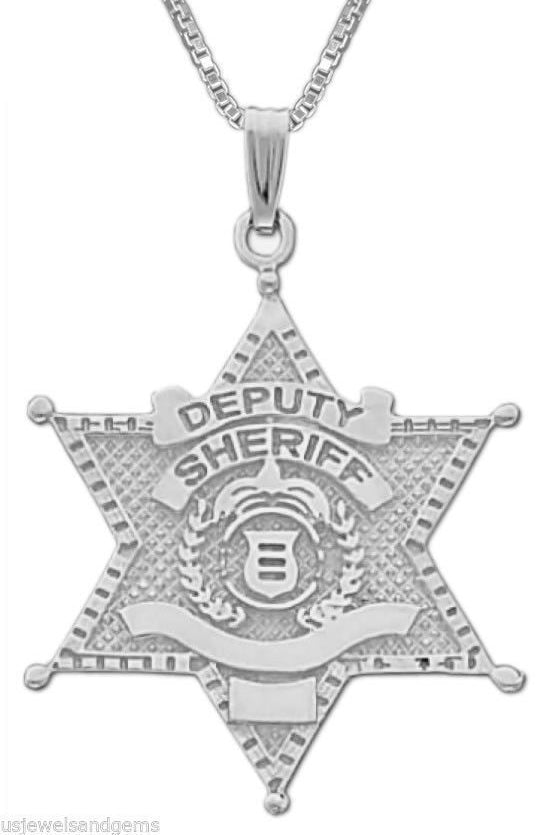 Police Necklace - Silver Pendant In Deputy Sheriff Badge