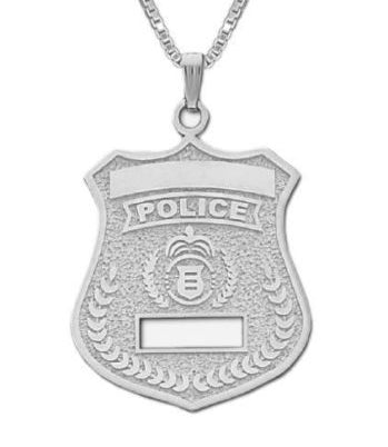 Charm Necklace - Police Pendant In Sterling Silver