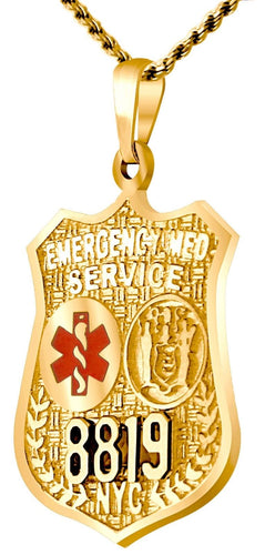 Charm Necklace - Gold Pendant In EMT Resuce Badge