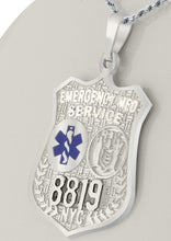 Badge Necklace With EMT Resuce Badge In Silver - Front View