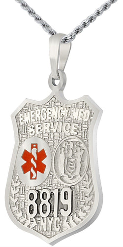 Badge Necklace - Silver Pendant With EMT Resuce Badge