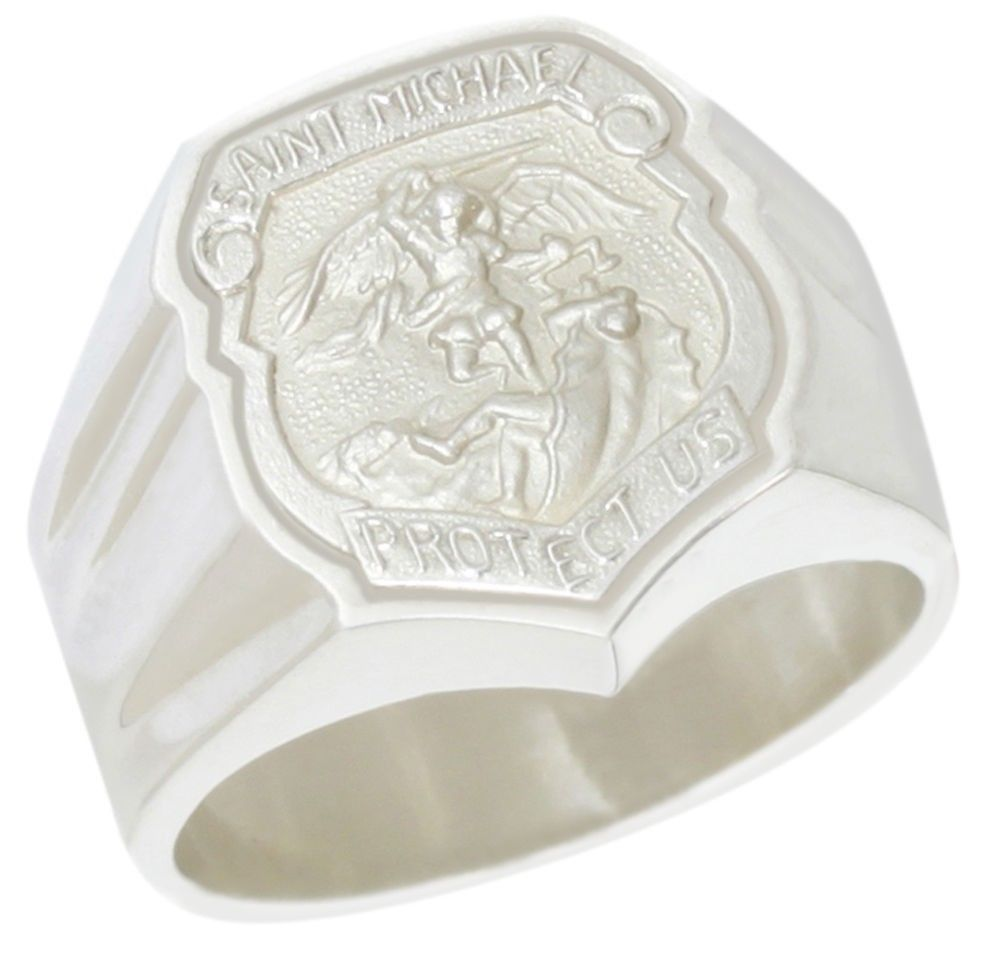 Michael Ring For Men In Sterling Silver - Front View