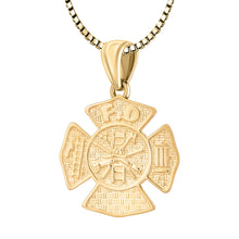 Firefighter Necklace of 26mm in 14k Gold - 1.5mm Box Chain