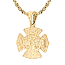 Firefighter Necklace of 26mm in 14k Gold - 2.5mm Rope Chain