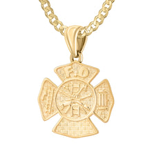 Firefighter Necklace of 26mm in 14k Gold - 2.6mm Curb Chain