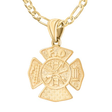 Firefighter Necklace of 26mm in Gold - 2.8mm Figaro Chain