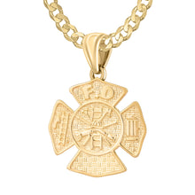 Firefighter Necklace of 26mm in 14k Gold - 3.6mm Curb Chain