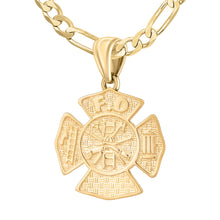 Firefighter Necklace of 26mm in Gold - 3.8mm Figaro Chain
