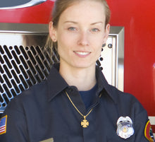 Firefighter Necklace of 26mm in 14k Gold - Worn by Lady