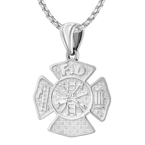 Ladies 925 Sterling Silver Customizable Firefighter Pendant Necklace, 26mm