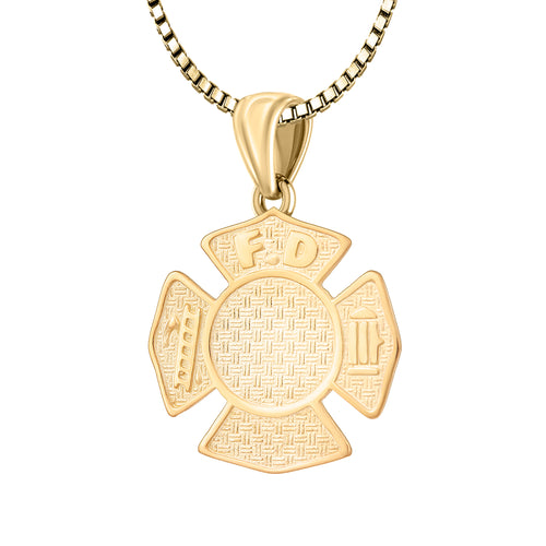 Firefighter Pendant of Gold for Ladies - 1.5mm Box Chain